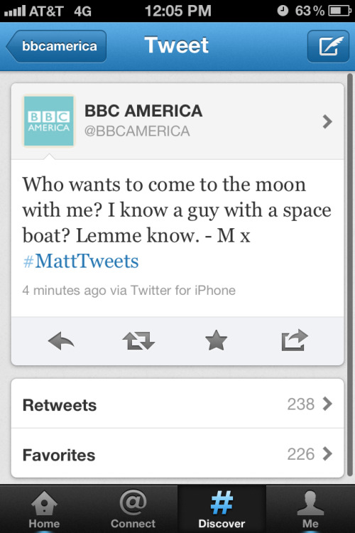 Matt knows a guy. Matt Smith took over the Twitter account of BBC America all day Saturday at San Diego Comic-Con.