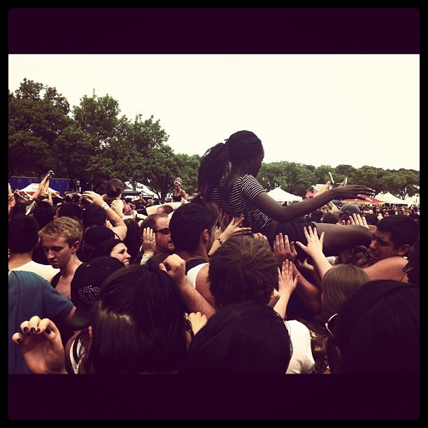 My girlie Raven #crowdsurfing at #warpedtour @warpedtour !! #seaofpeople #crowd #kids #bands #love #punk #metal #rock #getlow #jump #mosh #moshpit #summerfun #stuckintime (Taken with Instagram)