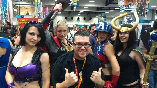 Me and the 16-bit Sirens, a rad group of female #Avengers cosplayers at #SDCC. They rock!