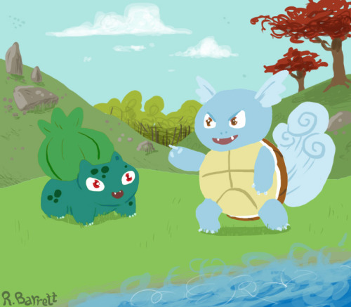 Bulbasaur and Wartortle!!! I don't normally work digitally but I really wanted to draw Wartortle for some reason! After Bulbasaur he's my favorite starter, including evolutions, from Kanto
