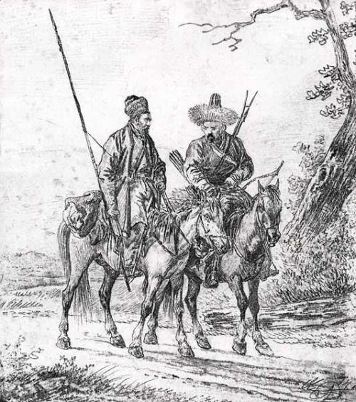 collective-history:  Two Bashkir horsmen- Aleksander Orlowski The Bashkirs are a Turkic people indigenous to Bashkortostan extending on both parts of the Ural mountains, on the place where Europe meets Asia.