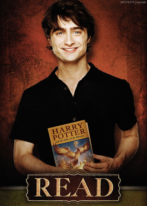 I changed the book in the picture to Daniel's favorite Harry Potter book. The original book was 'The Master & Margarita' by Mikhail Bulgakov. HERE.