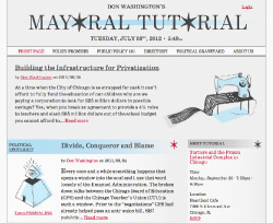 THE MAYORAL TUTORIAL - Identity, Interface + Poster Designs, Bookplate/Editorial Illustrations - The Mayoral Tutorial is at once very flippant in tone and deeply serious in subject matter: Comedy vs. Politics. When developing the brand for this online publication, we wanted to reflect that duality in our design and illustration strategies, and across mobile and desktop media. The interface and bookplate illustrations that we developed were also intended to function as a dynamic library of imagery for a variety of potential use-cases (to allow Don to operate without our continued involvement), so they had to be specific enough to be entertaining, while abstract enough to be flexible/operate uniquely in context. After several iterations of both illustration styles and interface designs, we ended up with a publishing platform that Don can add content to on a daily basis, independent of ongoing editorial design or illustration, but contextualized by consistent, hand-drawn artwork and strong, clean typesetting.