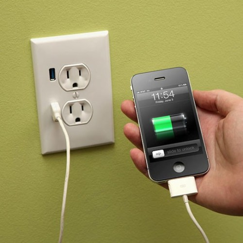 tisharaquel:  Upgrade a Wall Outlet to USB Functionality - You can get one at Lowe's or Home Depot for $15. Click The Picture To See How!