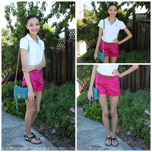 Outfit of the Day: One of My Favorites! Polo - Hollister Pink Shorts - H&M Cheetah Belt - Forever21 Purse - Rebecca Minkoff Sandals - DSW Necklace - Forever21 Heart Earrings - Forever21 iPhone Case - Kate Spade