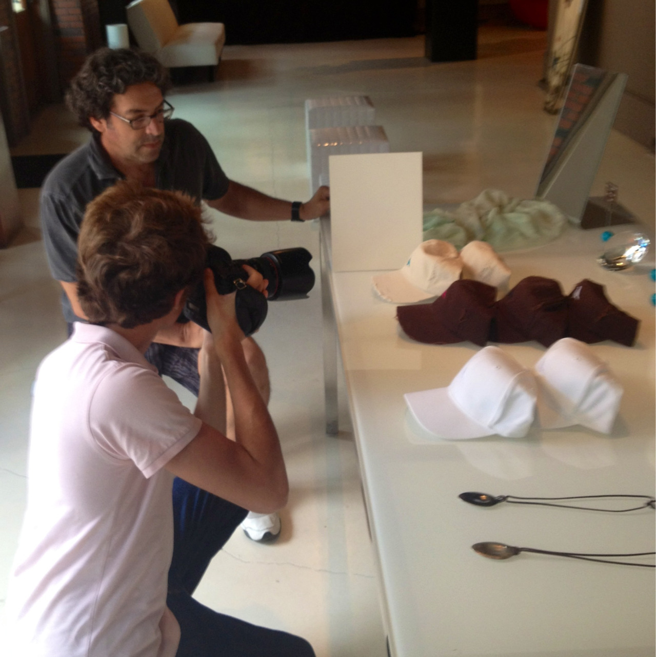 Tommy working with our new TCS assistant, Evan Carter, on product images for our soon to be operational on-line store.