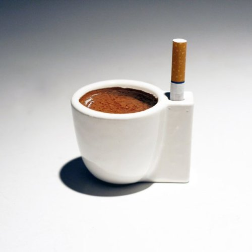 Perfect! 1000scientists:  Solo e Sola is an espresso cup that also acts as a single cigarette holder