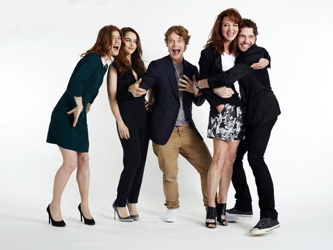 suicideblonde:  Rose Leslie, Emilia Clarke, Alfie Allen, Michelle Fairley, Richard Madden  STOP BEING SO ADORABLE, MICHELLE AND RICHARD!