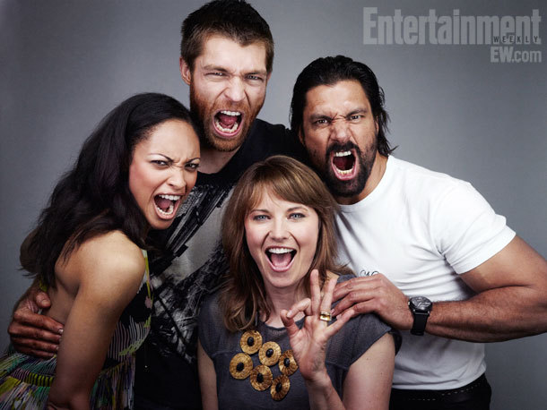 Spartacus Comic-Con Cast Portrait by Michael Muller, July 13th 2012 And hey, why not, a shot of Liam & Manu cuddling Shaq: