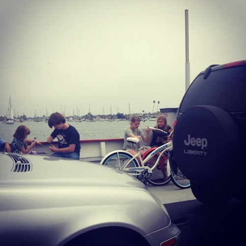 In a car on a boat with a bike. (Taken with Instagram)