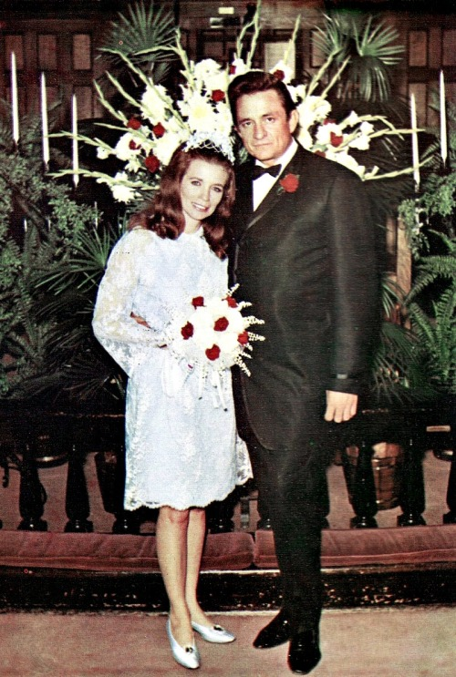 "Johnny Cash and June Carter on their wedding day, March 1, 1968.  Their marriage lasted 35 years.  When June died in 2003, Johnny was devastated. At her funeral, Johnny had to be helped from his wheelchair to view his wife's face one last time.  At a family gathering, he said, ""I don't know hardly what to say tonight about being up here without her.  The pain is so severe; there is no way of describing it.""  Johnny Cash died less than four months later."