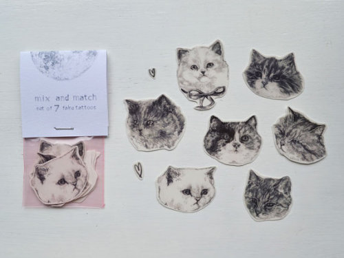 destinationmooon:  Look at these temporary cat tattoos!