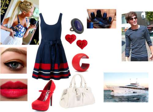 1dirishbabemofo:  Boat date by ello-13 featuring marc jacobs handbags  Nautical dress, $81 / Charlotte Russe high heels / Marc by Marc Jacobs marc jacobs handbag / Leather jewelry / Kenneth Jay Lane  jewelry / Stud earrings, $19 / Black eye makeup