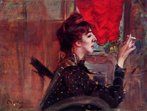 The Red Curtain, Giovanni Boldini, 1929