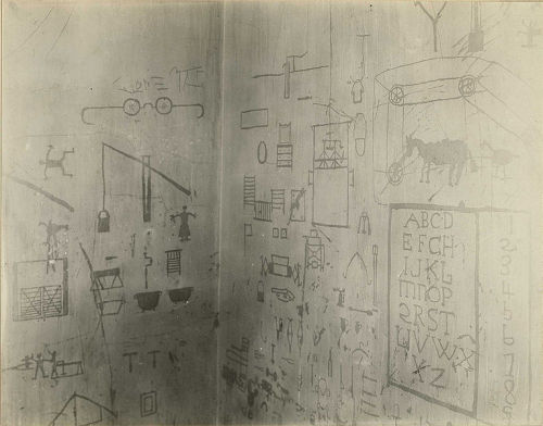 "collective-history:  Scratch-drawings on the wall in St. Elizabeths Hospital made by a patient with ""a disturbed case of dementia praecox""."