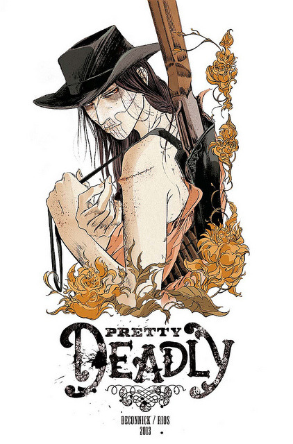 Pretty Deadly on Flickr. Kelly Sue DeConnick, me, Image Comics, 2013, Bang!  Our new flamboyant creator owned project that has just been announced at SDCC. (black and white version here)