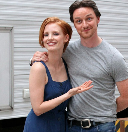 Jessica Chastain and James McAvoy on the set of The Disappearance of Eleanor Rigby.