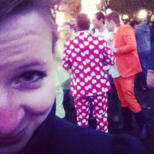 These guys had the best outfits. There were about 5 of them in orange.  (Taken with Instagram)