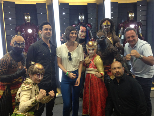 cirquedusoleil:  Lizzy Caplan, Jesse Bradford and KÀ artists on stage with Iron Man 3 suits at the Marvel booth!