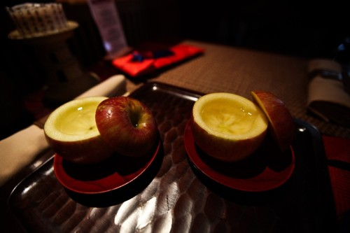 Saki served in apple at HanGawi, a vegan Korean restaurant located at 12 East 32nd Street in Manhattan. (Byron Smith for The Wall Street Journal)