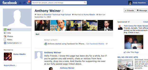 Anthony Weiner Is Back On Facebook - BuzzFeed
