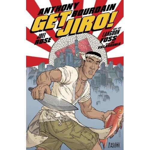 "unicahijabing:  Anthony Bourdain's (@Bourdain) new comic ""Get Jiro""   SDCC 2012: Vertigo: Get Jiro! In a future where master chefs control the city like crime lords and diners will literally kill for a seat at the best restaurants, one renegade sushi chef will ignite a war between kitchens that will leave far more than discarded seafood in its wake. GET JIRO! is a stylized send-up of modern food culture that could only come from the mind of Anthony Bourdain, the New York Times bestselling author and star of TV's ""No Reservations"" and ""The Layover."" Released earlier this month to great acclaim, Get Jiro! is an original graphic novel co-written by Joel Rose and drawn by Langdon Foss."