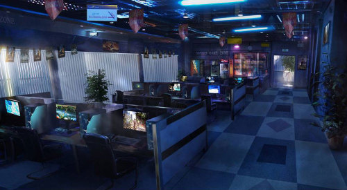 saveroomminibar:  The Secret World. Internet cafe concept art.
