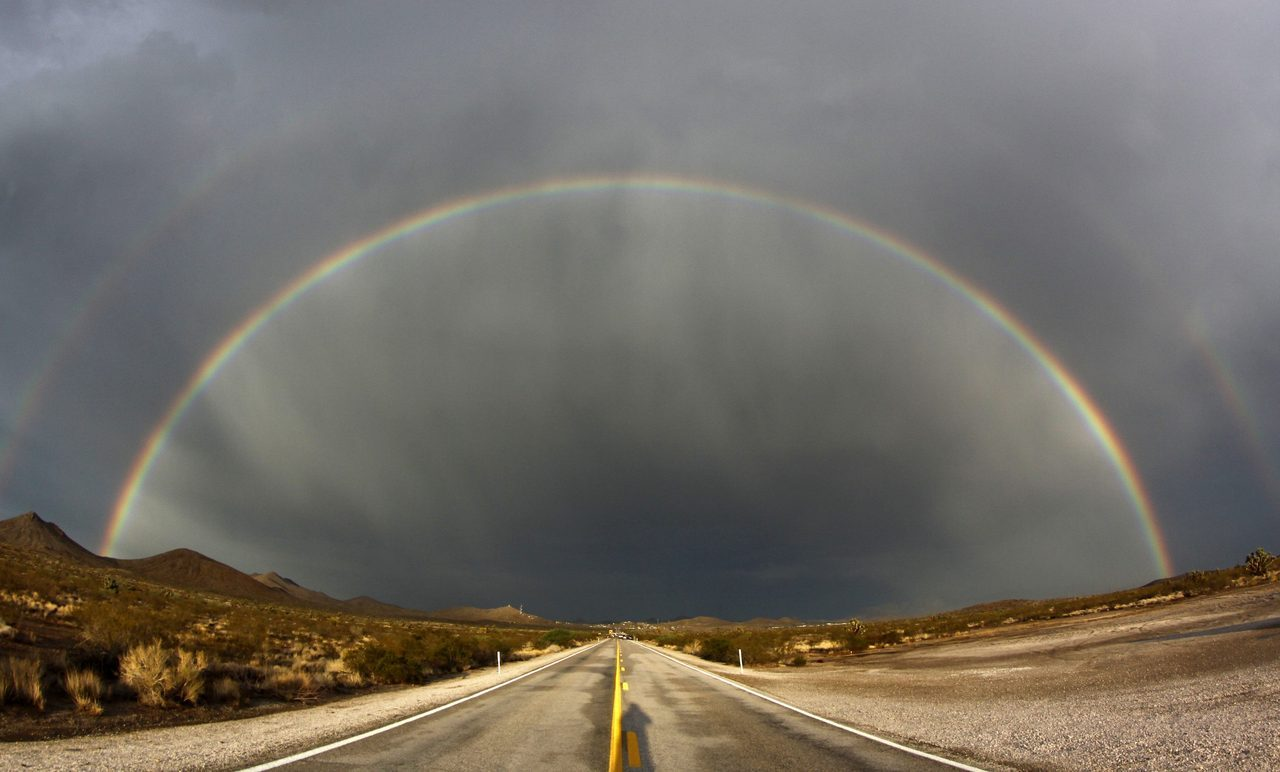 reuters:  A double rainbow appears after a heavy monsoon storms over Nipton Road in Searchlight, Nevada, July 13, 2012. The National Weather Service has extended a flashflood watch through Saturday night, as rain and thunderstorms have rumbled into Southern Nevada. Picture taken July 13. 2012. [REUTERS/Gene Blevins] See more photos like this: Follow Reuters on Tumblr
