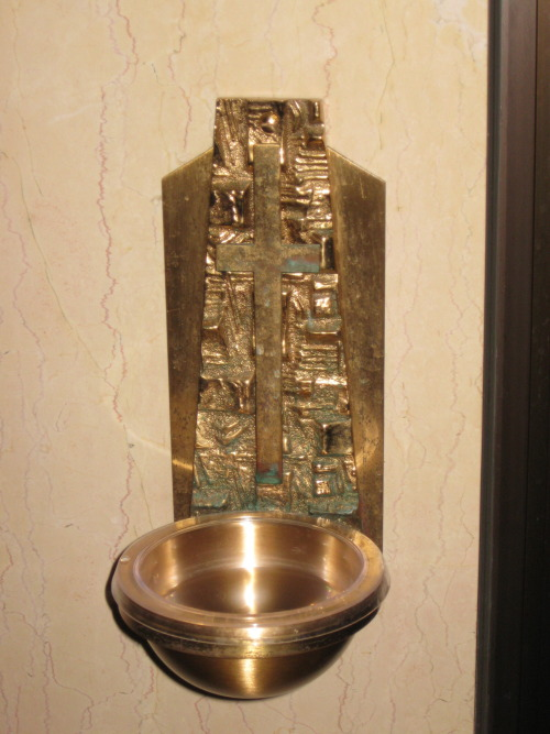 St Catherine of Siena Church, Mountain Lakes, NJ.  Beautiful Holy Water font near the entrance