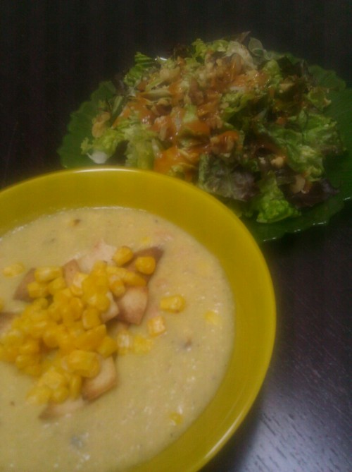 Aztec corn soup (happy herbivore), big salad w walnuts and dressing.