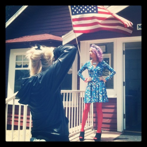 Behind the scenes today from our Americana shoot! @looooo3 and @lillipore in action! #locketship #jewelry #americana #fashion #lookbook #photoshoot (Taken with Instagram)