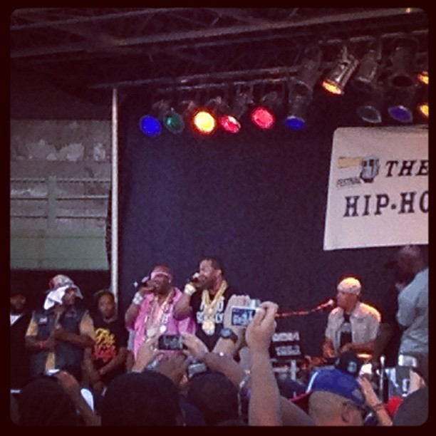 Busta rhymes brought out slick rick @bkhiphopfest #hiphop #oldschool #classic #bkhiphopfest #fresh  (Taken with Instagram)