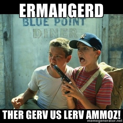 Sometimes I see a photo… and I have to meme-ize it.  ERMAHGERD… THER GERV US LERV AMMOZ!