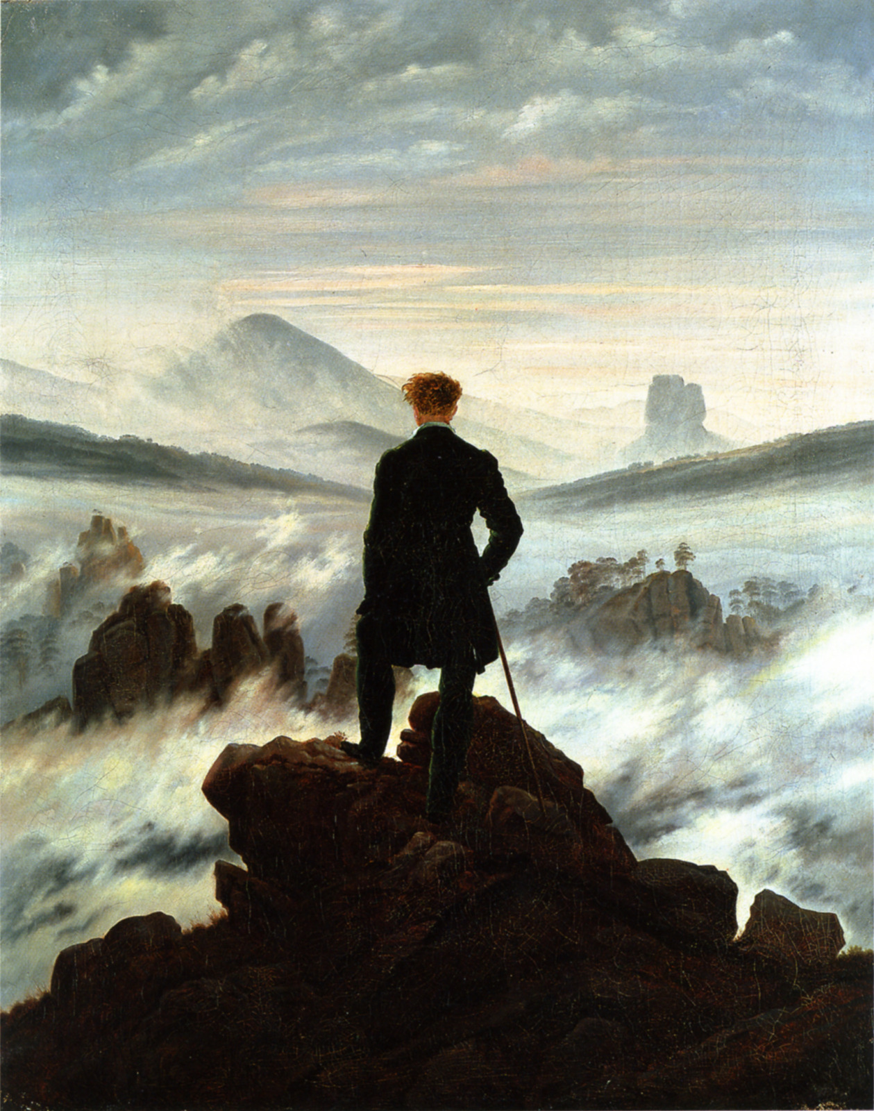 no-secret-sphinxes:  Wanderer Above the Sea of Fog, Caspar David Friedrich, 1818