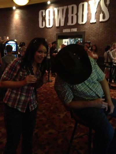 Jess finds one cowboy at Cowboys, in Calgary, Alberta