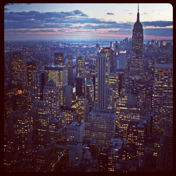 View from the #chryslerbuilding #nyc #nycrightnow #newyorkcity #skyline #buildings #esb #empirestatebuilding #empirestate #evening #saturday #city #manhattan #midtown #east (Taken with Instagram at Chrysler Building)