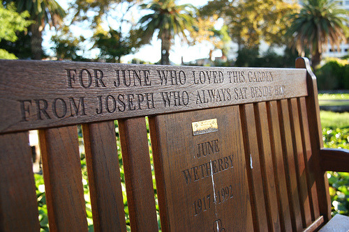 """For June who loved this garden from Joseph who always sat beside her."" Some people do spend their whole lives together."
