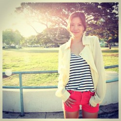 #bamboosky @tiffheartfashion in our red denim shorts (was $39, now $27) & chiffon moto jacket  #new #newarrivals #outfit #outfitoftheday #ootd #lookoftheday #wiwt #whatiwore #style #fashion #fashiondiaries #instafashion #instastyle #instagramhi #fashionblogger #blogger #instablog  (Taken with Instagram)