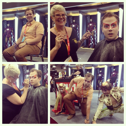 cirquedusoleil:  Marvel editor Nick Lowe got KÀ make up done in-booth at Comic-Con to help celebrate issue #1 of the KÀ comic book!  AWESOME!!! I saw the Ka people and I freaked out and fangirled! I wanted to take a picture but they were heading somewhere and the dealer's hall was closing :(