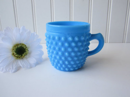 Sweeeet! Cute blue milk glass hobnail cup