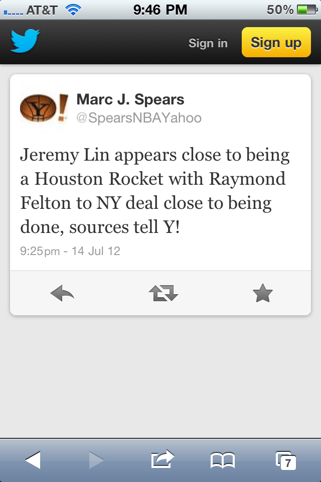 After this Tweet from Yahoo's Marc Spears, the Internet is ablaze as it seems multiple sources believe Knicks will allow Jeremy Lin to leave —wasting his Bird Rights— for the Rockets offer sheet & replace him by reacquiring Ray Felton in a S/T with the Blazers.   Oh, also, NY will not match Raptors offer sheet to Landry Fields.   Knick fans, what say you?