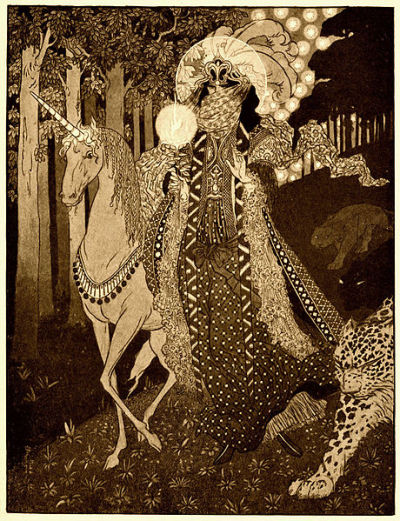 "Sidney SimeRomance Comes Down Out of Hilly Woodlands, illustration for ""Poltarnees, Beholder of Ocean"" Lord Dunsany's A Dreamer's Tales"