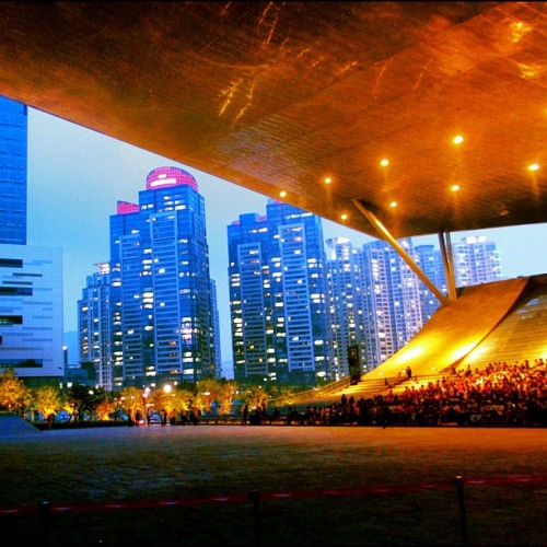Probably the coolest outdoor movie theater in the world… The Busan Cinema Center - South Korea (and it's free!!) (Taken with Instagram at Busan Cinema Center)