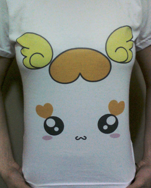 keru-chan:  Sorry the for bad quality photo, but I'd like to share a shirt I made for me. Free inspired on a Heartcatch fanart I saw sometime ago :3