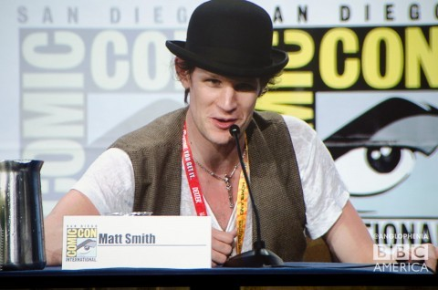 "Comic-Con: 'Doctor Who's Matt Smith on TV Guide's Fan Favorites Panel  Doctor Who's Matt Smith appeared to be every bit the rock star as he graced the stage for TV Guide Magazine's Fan Favorites panel.  Matt Smith at the TV Guide Fan Favorites panel. (Photo by Dave Gustav Anderson)  The panel's roster included stars like Community's Joel McHale, Castle's Nathan Fillion, Nikita's Maggie Q, Teen Wolf's Tyler Posey, Spartacus' Liam McIntyre, Fringe's Jasika Nicole, Grimm's David Biuntoli, and The Walking Dead's Sarah Wayne Callies. But all eyes were on Matt as the audience took to the podium to ask questions. And we mean that literally every fan question was directed at Matt. (If we downed a shot for every time the words ""This question is for Matt Smith"" were said during today's TV Guide Fan Favorites panel, we'd wouldn't be posting right now. We'd be hospitalized.)  This is a great writeup. Go read it over at Anglophenia"