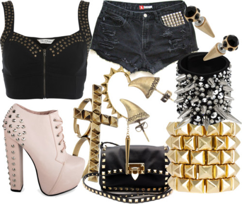 Studded Out by emsaxx featuring punk jewelryMiss Selfridge bustier top / High waisted denim shorts / High heel shoes / Valentino  handbag / Giuseppe Zanotti punk jewelry / House of Harlow 1960 stud earrings / ASOS studded jewelry / Ear cuff jewelry, $17 / Miss Selfridge stone jewelry / Miss Selfridge cross ring