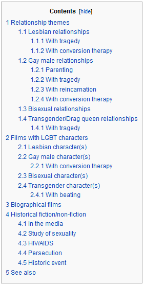 List of LGBT films by storyline  Definitely the most depressing table of contents I've ever seen.
