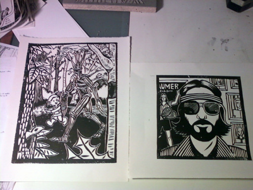 Test proofs for the Cid & Francis and Richie Tenenbaum prints.  Far from perfect, but that's the whole point. Right now, I'm just looking to see how these things look in stark black and white, what I still need to cut, and what I screwed up in the process. It also helps to find defects in the blocks themselves, that way you can figure out how to incorporate them into the finished design.  But, overall, I'm excited. There's just a certain sense of joy in pulling a print, in seeing the actual art that you've been working towards for so long. And then you can print however many you want, and send them out to make the world a better place.