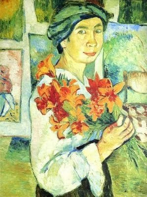 1905 Natalia Goncharova (Russian artist, 1881-1962) Self Portrait with Lilies.