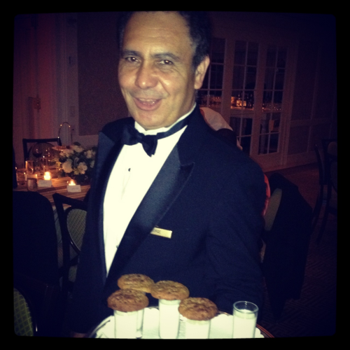 {cookies & milk} with a gracious waiter. I say, yes! Thank you!! #perfectwedding